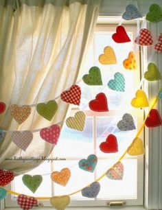 Multi-Strand Garland of Whimsical Fabric Hearts