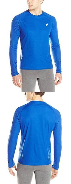 Other Mens Fitness Clothing 40892: Asics Mens Performance Run Long Sleeve Crew Top, Air Force Blue, Large BUY IT NOW ONLY: $48.0