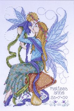 Fairy Mother Counted Cross Stitch Kit by Joan Elliot Dragon Cross Stitch, Cross Stitch Fairy, Cross Stitch Angels, Counted Cross Stitch Kits, Cross Stitch Charts, Cross Stitch Designs, Cross Stitch Patterns, Cross Stitching, Cross Stitch Embroidery