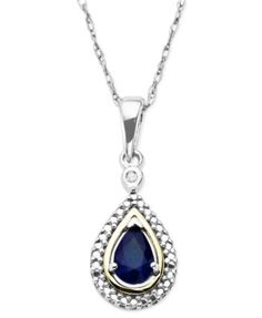 Gemstone (1/2 ct. t.w.) and Diamond Accent Teardrop Pendant Necklace in 14k Gold and Sterling Silver