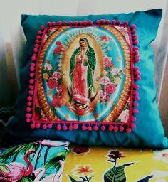 Lady of Guadalupe fringed cushion via bettymacheteshop.com/