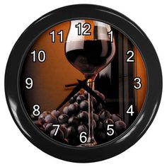 Black Grapes Wine Glass Plastic Black Frame Battery Novelty Kitchen Wall Clock #CustomMade #Novelty #clock #kitchen