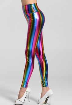 Empire Waist Fluorescent Rainbow Leggings