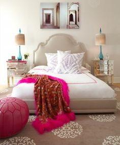Home decor, bedroom decor. The pink gives the personality and an overall happy impression of the room.