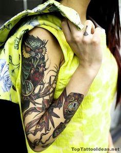 Owl Sleeve Piece Tattoo Idea