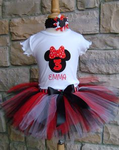 Miss Mouse Head Birthday Tutu Outfit  Red by SillyMonkeyBoutique, $39.00