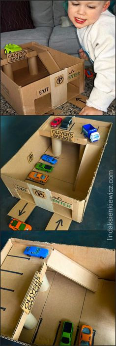 OLIVER'S CARDBOARD GARAGE. for little cars, adapted from MissyInspired's blog. Instead of using duct tape, I used glue for the entire project for a cleaner look. The upper level, set on 2 toilet paper tubes (lots of glue to hold in place), is wide so a car can drive past parked cars, the ramp has sides, and doors are marked enter & exit. I also glued a piece of cardboard in the center bottom of the box to level it. He loves it! (thanks Missy). Less than an hour to build!