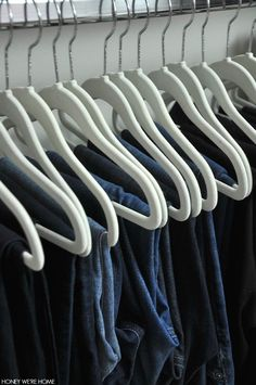 Organized closet, best way to hang jeans | Honey We're Home