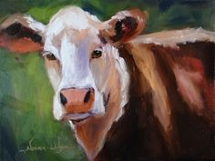 Starstruck Cow Art Farm Animals In Oil, painting by artist Norma Wilson