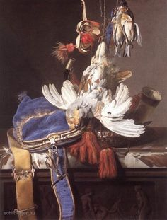 "Painting ""Jacht Stilleven"" by Willem van Aelst - www.schilderijen.nu"