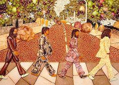 """Capa do álbum """"Abbey Road"""", dos Beatles, feita de bacon, ovos, salsicha, cogumelos e feijão. Criação de Paul Baker."""