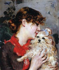The Actress Rejane And Her Dog Painting by Giovanni Boldini