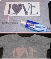 How to make a bleached t-shirt. Bleach Pen 'Love' T Shirts - Step 3