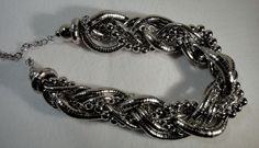 Statement Necklace Large Shiny Silver Tone 7 Layer Twist Snake, Link & Bead  #Unbranded #Snake #Chain #Link #Bead #Jewelry #Fashion #Silver #Costume #Style #Unique