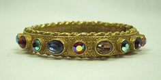VTG 1950-60 GOLD TONE MULTI COLORED STONES hinged bracelet by ART