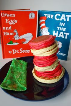 Cat in the Hat pancake stack for a Seussical birthday brunch