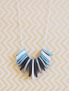 Blue silver black & white polymer clay necklace by OwnSweetTime, $40.00