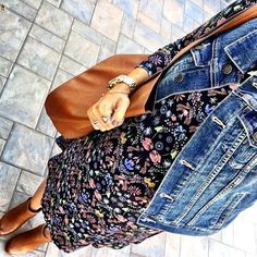 IG @mrscasual <click through to shop this look> Asos maternity floral swing dress. Denim vest.  Cognac ankle booties.  Tote bag.  Gold rings.