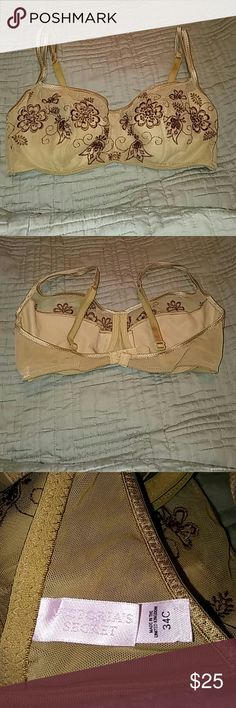 Victoria's Secret Tan And Brown 34C Bra Super cute. Tan nylon Bra embroidered with brown floral design adorned with beads. Very sexy. Victoria's Secret Intimates & Sleepwear Bras