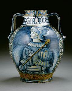 A Castelli two-handled vase, circa 1540.