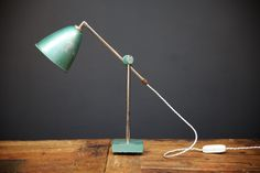Stove enamelled and painted finish, height adjustable Price is per lamp. Height Adjustable, Green, Lamp, Work Lamp, Desk Lamp, Home Decor, Lights, Laboratory, Work Lights
