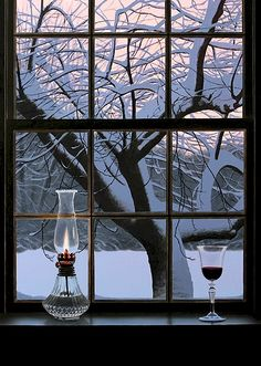 the view, the window, the lamp, and the wine.. what more could you want for a winter evening at home?