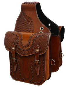 Showman Tooled leather saddle bag with antique copper hardware. This saddle bag features basket weave tooling accented with copper conchos and comes equipped with front D rings. Bag measures x x with a gusset. Horse Gear, Horse Tack, Leather Saddle Bags, Tooled Leather, Leather Tooling Patterns, Antique Copper, Cowboy Gear, Bike Bag, Vintage Clutch