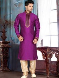 Prime Purple Art Silk Wedding Wear Kurta Pajama