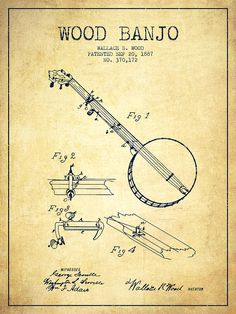 Wood Banjo Patent Drawing From 1887 - Vintage Drawing