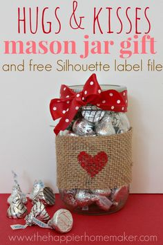 Valentine Mason Jar Ideas: Valentine Mason Jar gift by the Happier Homemaker