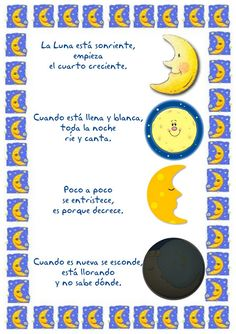 Menta Más Chocolate - RECURSOS y ACTIVIDADES PARA EDUCACIÓN INFANTIL: Universo: Poesías y Adivinanzas Galaxy Projects, Moon Projects, Learning Spanish, Spanish Lessons, Kindergarten Graduation Songs, Simple Poems, Summer Lesson, Bilingual Classroom, Space Theme