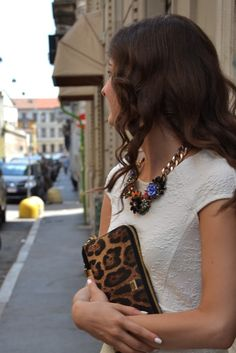 Zara necklace and Dolce clutch