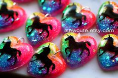 Unicorn Necklace Rainbow Unicorn Jewelry Rainbow Heart by isewcute, $18.50