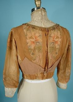 c. 1910 Exquisite Embroidered, Net, Lace and Beaded Edwardian Blouse via AntiqueDress.com (back view)