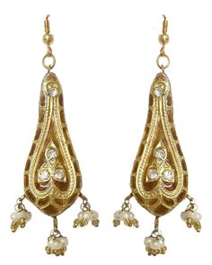 Stone Studded Light Brown Dangle Lac Earrings (Lac, Bead and Stone)