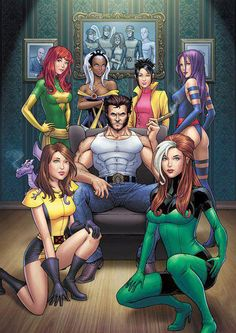 Jean Grey, Storm, Jubilee, Psylocke, Rogue, Kitty Pryde, Lockheed, Wolverine