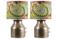 Stainless Milk Can Lamps, Pair on OneKingsLane.com