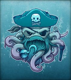 By Chump Magic #illustration #artwork #digital #painting #fantasy #art #pirate #octopus