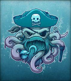 By Chump Magic #illustration #artwork #digital #painting #fantasy #art  #pirate #octopus