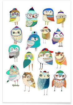 Owls as Premium Poster by Ashley Percival | JUNIQE 15.00