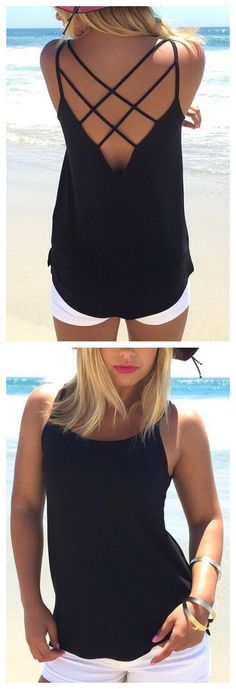 Black Sleeveless Cross Front Top