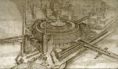 Frank Lloyd Wright Point Park Civic Center project included a megastructure to house theaters, arenas, shops and more. The 1947 drawing shows the bird's eye view from Mt. Washington.