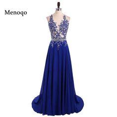 Flash Sale $82.56, Buy 1191W vestido de festa longo Sparkly Beaded Royal Blue Long Prom Dresses 2017 Sexy Backless A Line Long Party Evening Dress