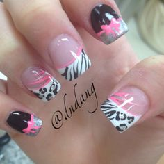 Pink Black and White with Leopard and Zebra with a bow :)