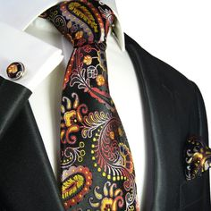 Yellow, Red and Black Paisley Tie Set by Paul Malone . 100Silk (553CH)