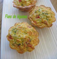 Flans de légumes - Avec une bonne salade, c'est frais, rapide et délicieux..... Ingrédients pour 6 flans 350 g de légumes: 1 tomate + 1 petite courgette...