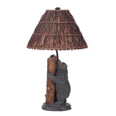 Cal Lighting Antique Bronze Country Rustic Bear on a Tree Resin Table Lamp with Switch and Round Woven Twig Shade Rustic Table Lamps, Black Forest Decor, Light Bulb Wattage, Lamp Shade Store, Resin Table, Lodge Style, Bear Design, Fabric Shades, Desk Lamp