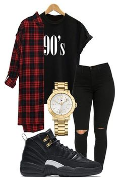 """""""black"""" by kingrabia ❤ liked on Polyvore featuring NIKE and Tommy Hilfiger"""
