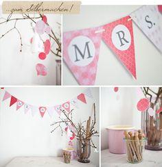 free printable wedding garland in pink, Mr. & Mrs., DIY