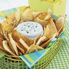 Garlic Pita Chips - I like eating these with Weight Watchers slow-cooker artichoke dip. ~ JL